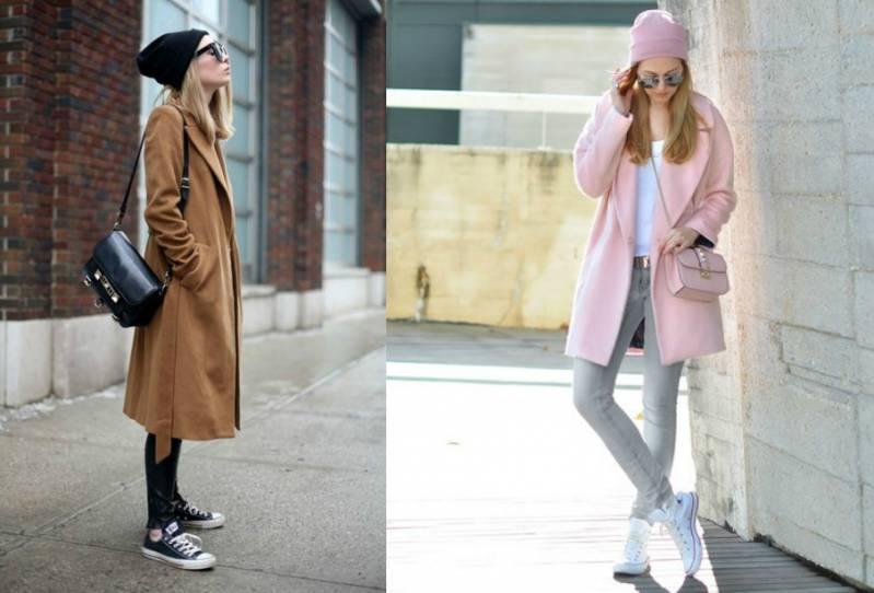 191b7f009f89 Наиболее подходящими под спортивную обувь являются вязаные изделия или  шерстяные пальто. Важно, чтобы сочетание стилей и деталей было гармоничным,  ...