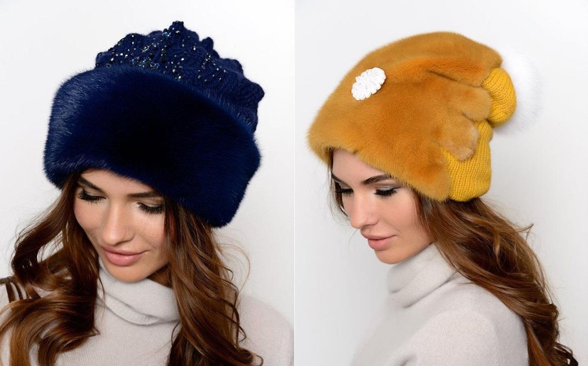 Красиво смотрятся модные женские зимние меховые шапки из осветленного меха 40bb41983d625