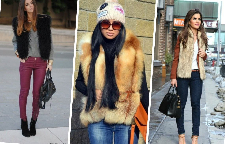 меховая жилетка с чем носить зимой фото